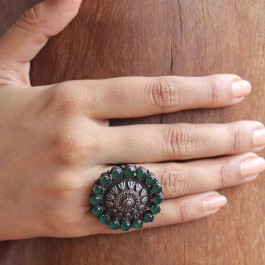 Hariyali Green Silver Statement Ring - Adjustable
