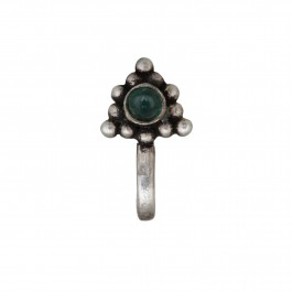 Green Onyx Silver Nose Pin