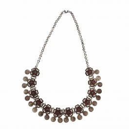 Floral Silver Coin Necklace