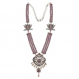 Lotus Traditional Silver Pink Necklace