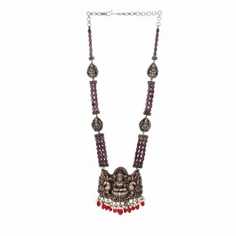 Antique Red Onyx Silver Necklace