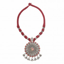 Krishna Radha Red Silver Necklace