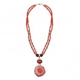 Agate Silver Necklace for Women