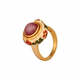 Luxury Ruby Enamel Statement Ring