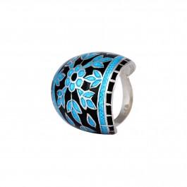 Blue Floral Enamel Ring