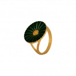 Green Enamel Disc Ring