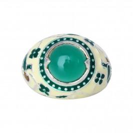 Green Onyx Floral Meenakari Ring