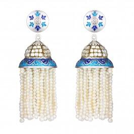 Pearl Crystal Quartz Jhumki Earrings