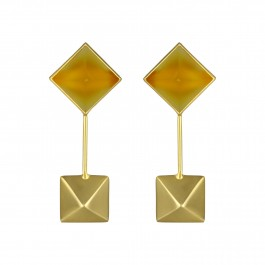 Yellow Agate Square Drop Earrings