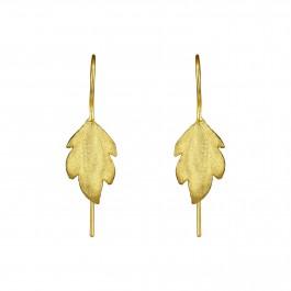 Golden Matt Leaf Earrings
