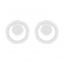 Round Disc Silver Stud Earrings