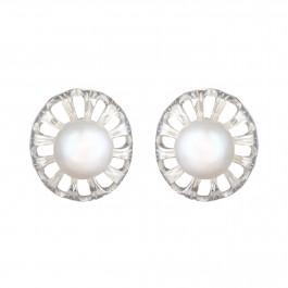 Floral Pearl Stud Earrings