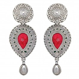 Red Paisley Statement Earrings