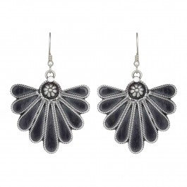 Floral Oxidized Dangle Drop Earrings for Women and Girls
