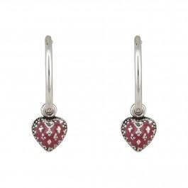 Cute Red Heart Enamel Bali Earrings for Women and Girls