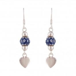 Adorable Blue Heart Silver Drop Earring for Girls