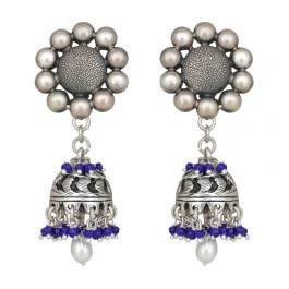 Onyx Pearl Silver Jhumka Earrings for Women and Girls