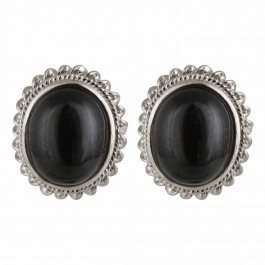 Black Onyx Oval Stud Earrings for Women and Girls
