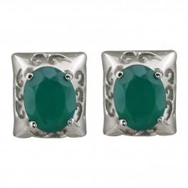Green Onyx Rectangular Stud Earrings for Women and Girls