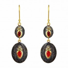 Ruby Black Plated Silver Dangle Earrings