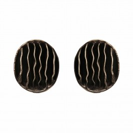 Striped Oval Antique Stud Earrings
