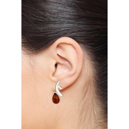 Charming Curvy Amber Stud Earrings