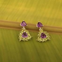 Indo Western Triangle Stone Earrings