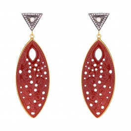 Red Stone Heavy Drop Earrings