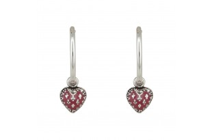 Cute Red Heart Enamel Bali Earrings for Women and Girls