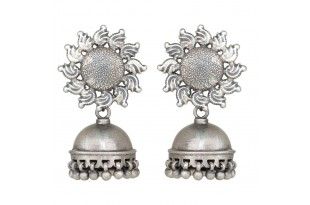 Sunflower Silver Jhumkas for Women and Girls