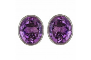 Amethyst Oval Stud Earrings for Women and Girls