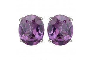 Amethyst Stud Earrings for Women and Girls