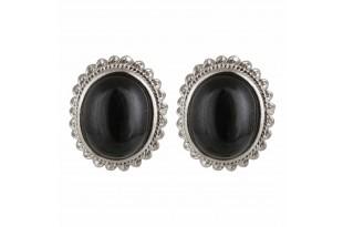 Black Onyx Oval Stud Earrings for Women and Girls