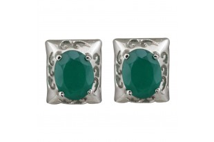 Green Onyx Rectangular Stud Earrings for Women and Girls