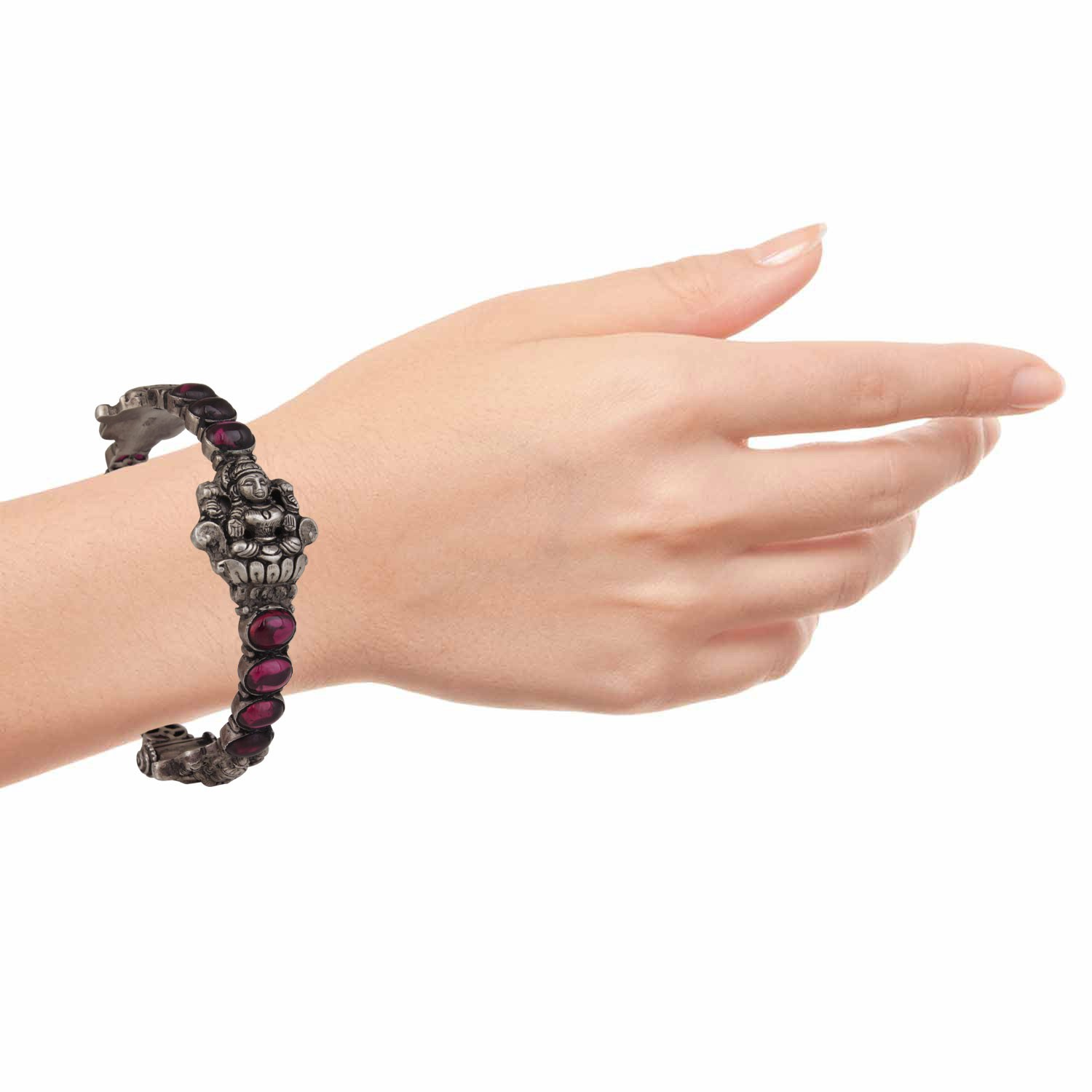 Pink Spinel Traditional Bangle