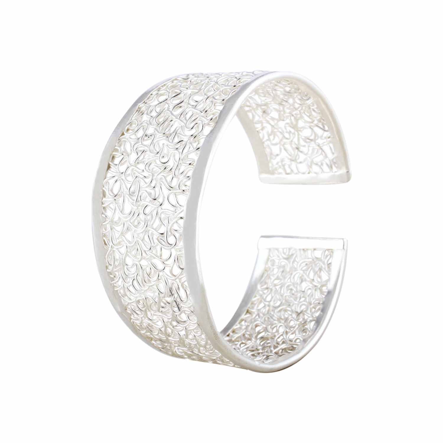 Adjustable Sterling Silver Filigree Cuff Bangle for Women and Girls