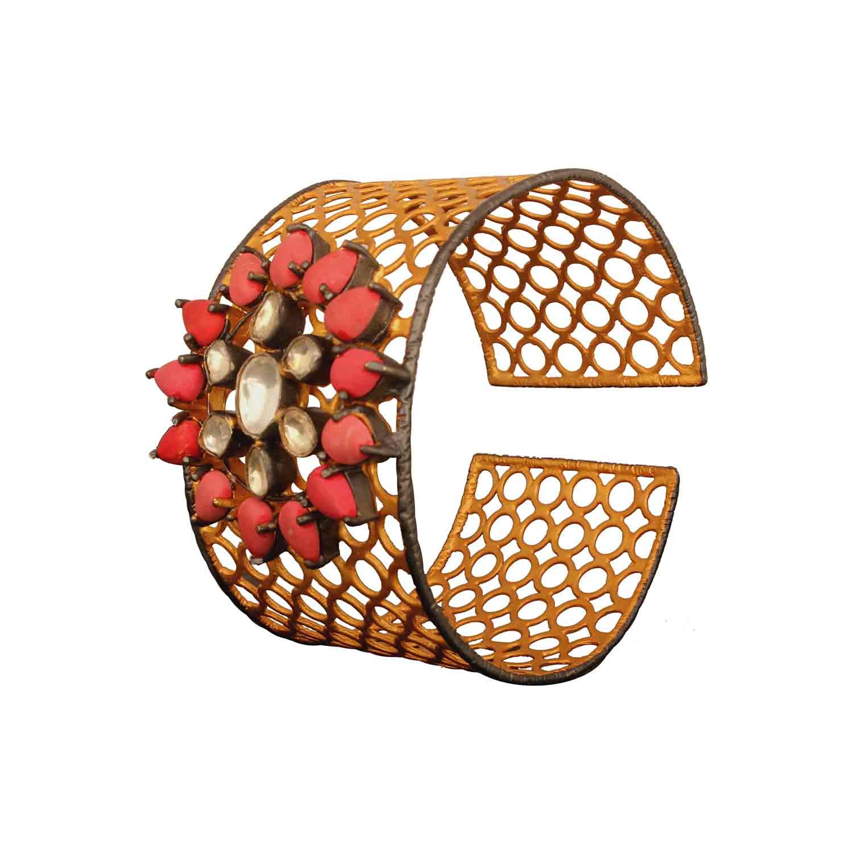 Coral Crystal Quartz Bracelet
