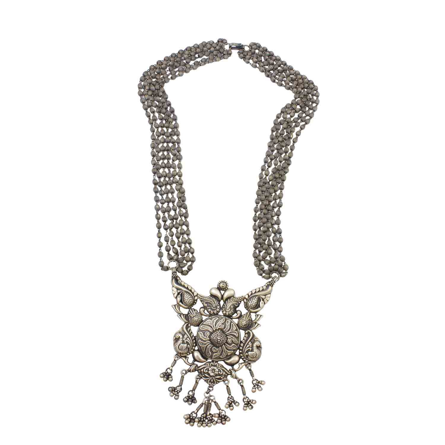 Floral Statement Silver Necklace