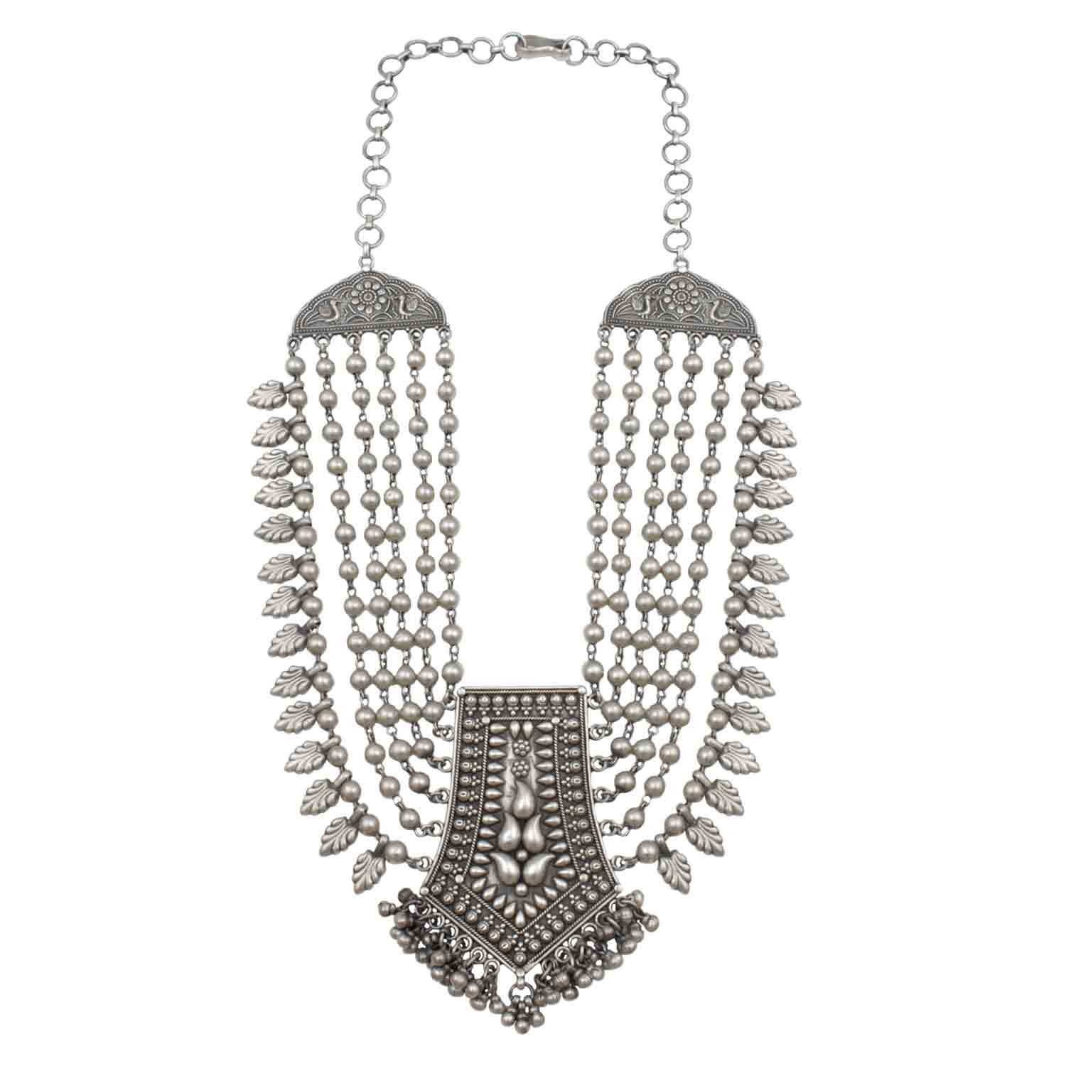 String of Beads Silver Necklace
