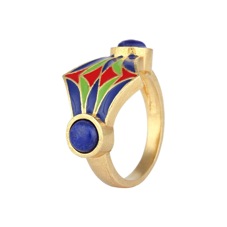 Symbol of Strength Egyptian Enamel Ring