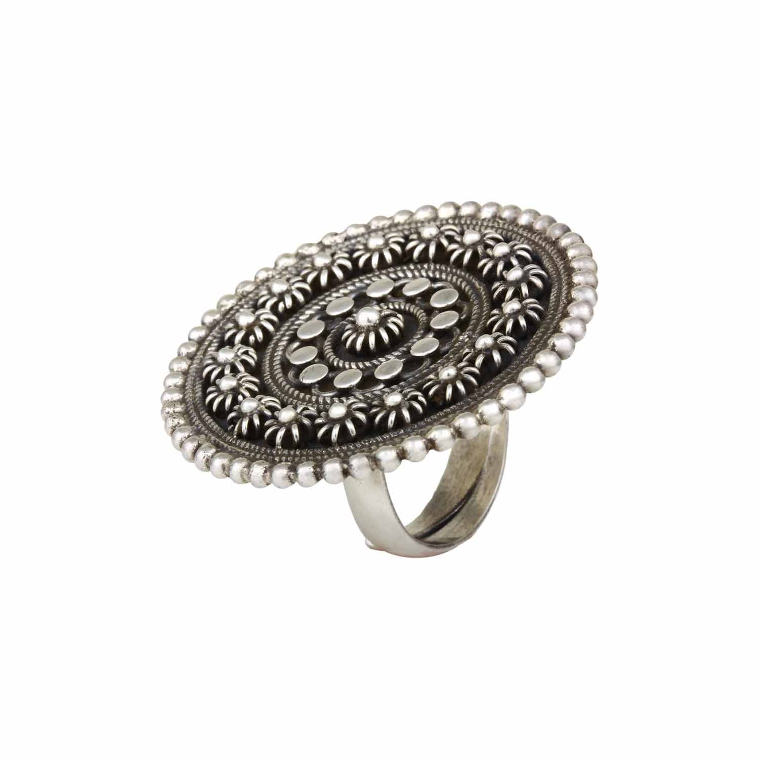 Banjara Silver Statement Disc Ring - Adjustable