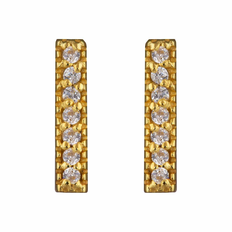 Tiny Zircon Gold Stud Earrings