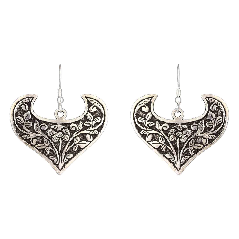 Oxidized Heart Shaped Silver Dangle Drop Earrings for Women and Girls