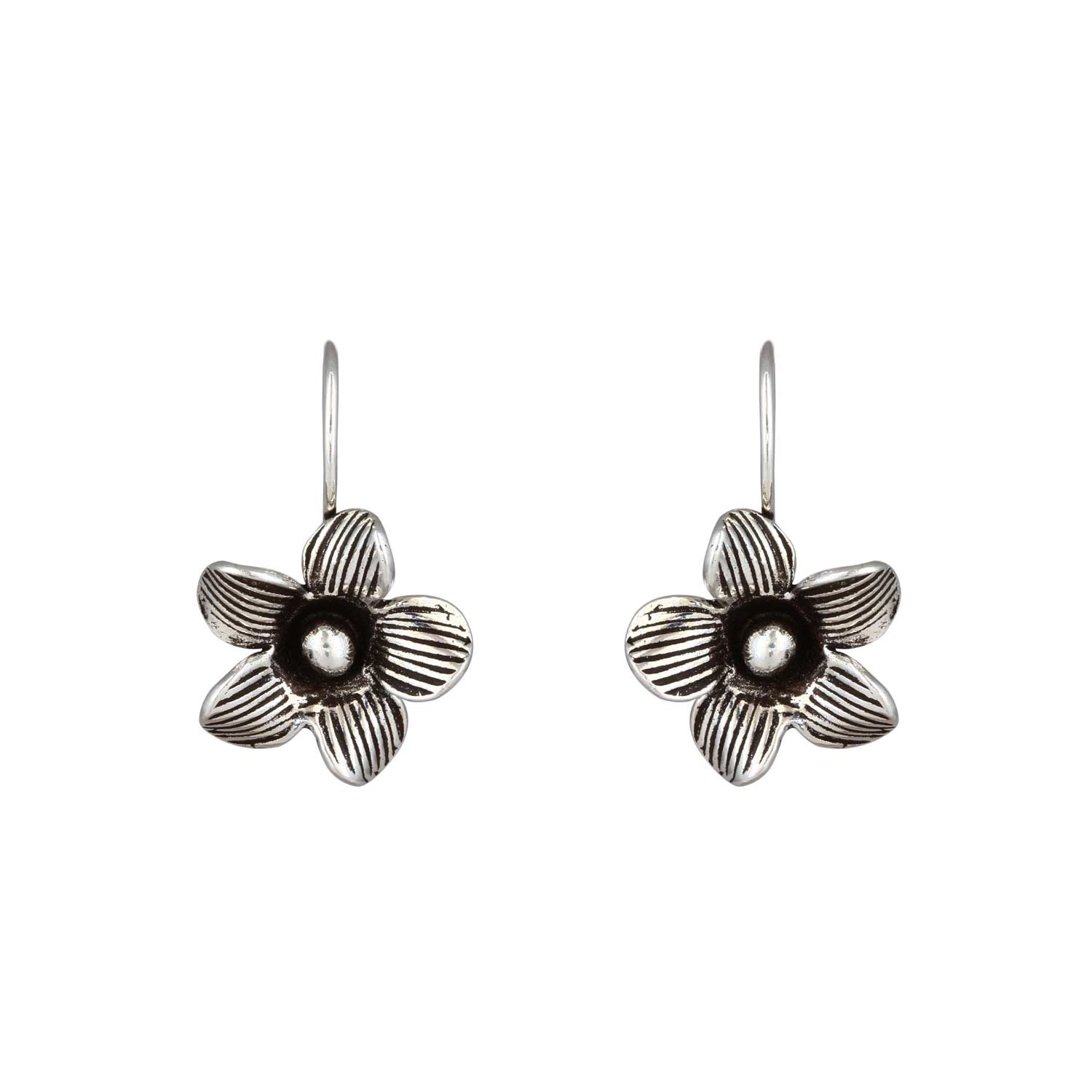 Oxidised Etched Floral Earrings