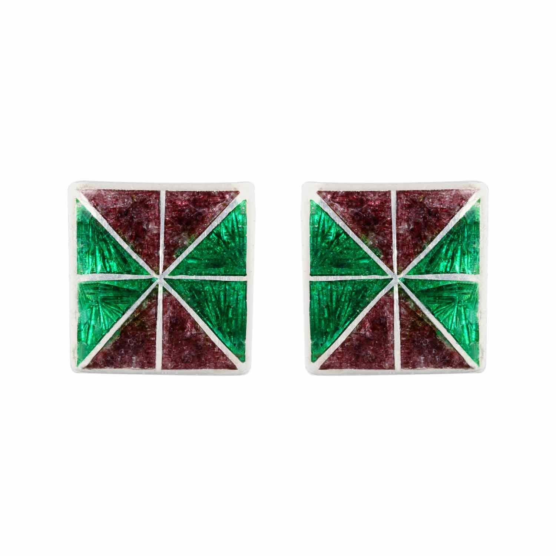 Pari Square Green Stud Earrings