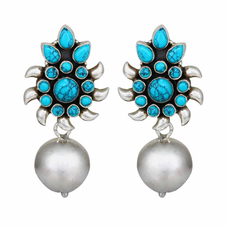 Neelamra Turquoise Silver Drop Earrings