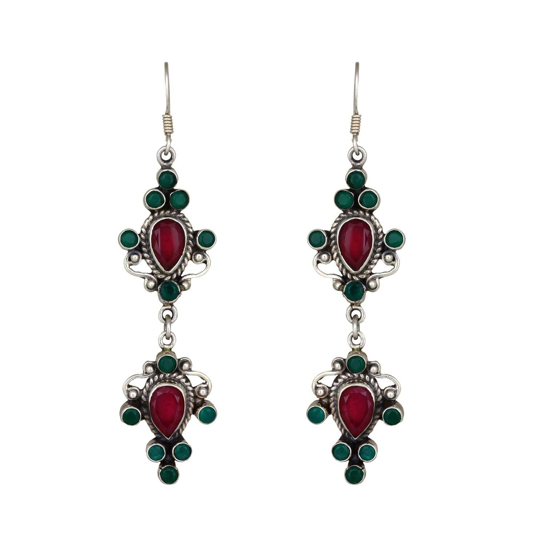Dholna Red Green Earrings
