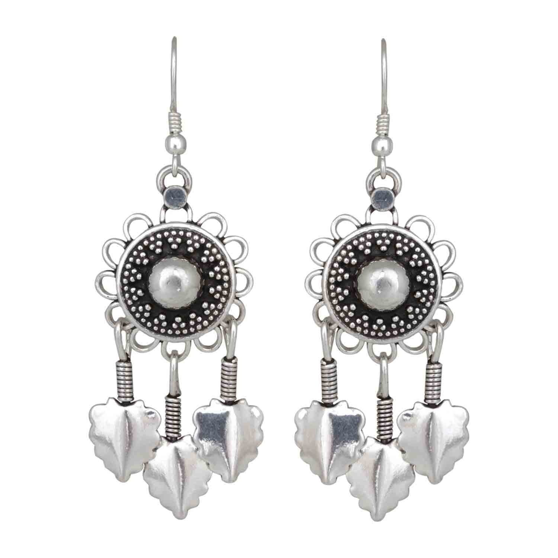 Handmade Dream Catcher Silver Tassel Earrings for Women and Girls
