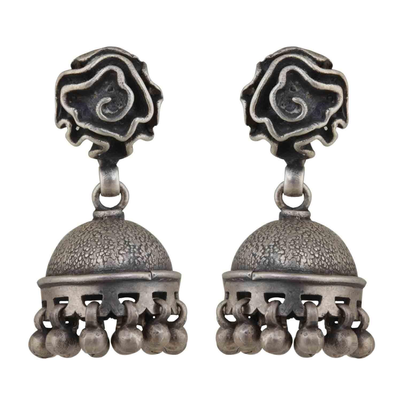 Rose Silver Jhumka
