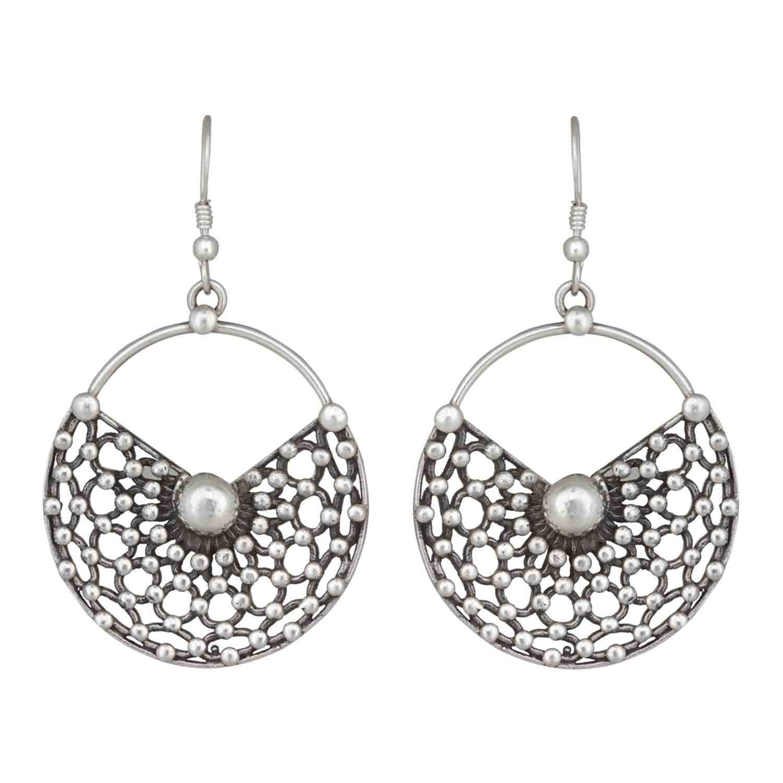Half Moon Silver Drop Earrings